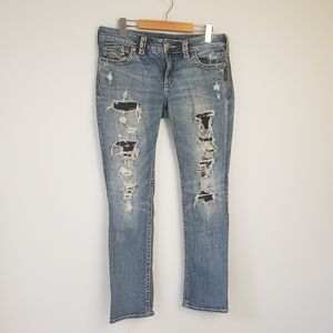 Silver Suki Flap Slim Jeans Distressed Mid Rise
